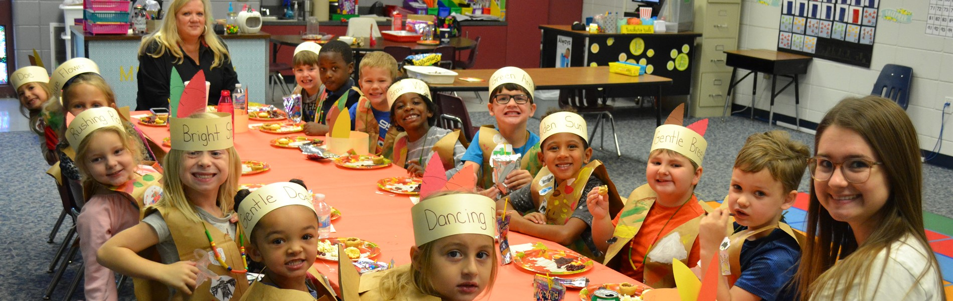 Molly Boatright's kindergarten class Thanksgiving feast
