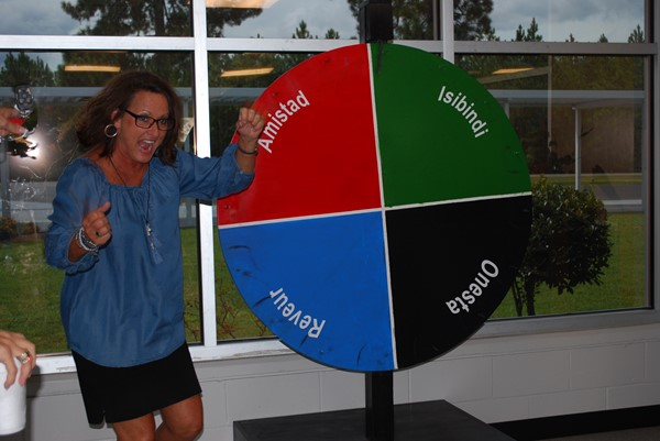 Mrs. Stephany Smith spins the house wheel!